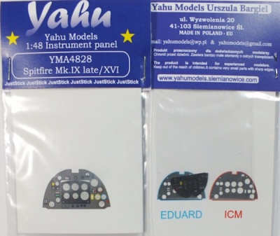 Spitfire Mk IX late / XVI Coloured Photoetch Instrument Panels - ''JustStick'' Ready to fit (designed for Eduard / ICM kits) 1:48 Yahu Models