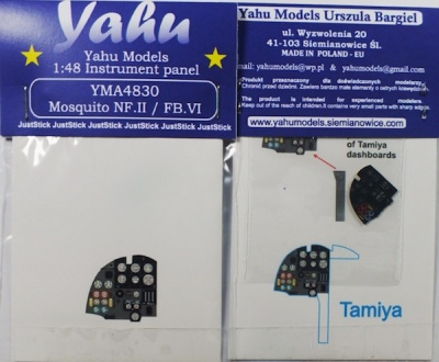 Mosquito NF.II / FB VI Coloured Photoetch Instrument Panels - ''JustStick'' Ready to fit (designed for Tamiya kits) 1:48 Yahu Models