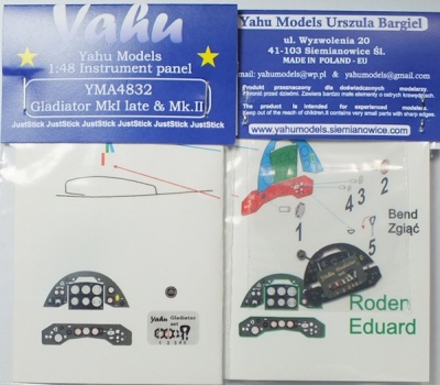 Gladiator Mk.I late & Mk.II Coloured Photoetch Instrument Panels - ''JustStick'' Ready to fit (designed for Roden / Eduard kits) 1:48 Yahu Models