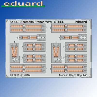 STEEL Seatbelts France WWII 1:32 Eduard Photoetch
