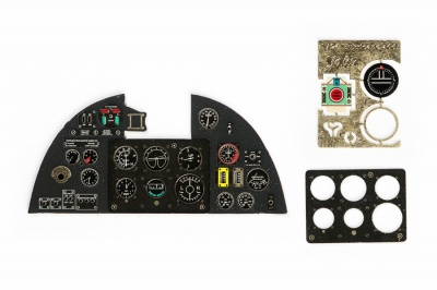 Hurricane Mk I Coloured Photoetch Instrument Panels - ''JustStick'' Ready to fit (designed for Trumpeter kits) 1:24 Yahu Models