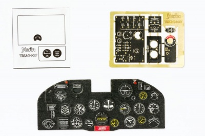 P-47 Thunderbolt early Coloured Photoetch Instrument Panels - ''JustStick'' Ready to fit (designed for Kinetic/Vintage Fighter Series kits) 1:24 Yahu Models