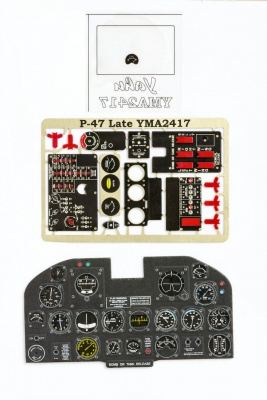 P-47 Thunderbolt late Coloured Photoetch Instrument Panels - ''JustStick'' Ready to fit (designed for Kinetic/Vintage Fighter Series kits) 1:24 Yahu Models