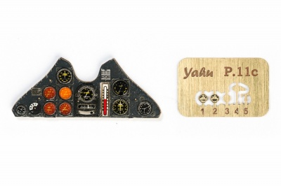 PZL P.11c Coloured Photoetch Instrument Panels - ''JustStick'' Ready to fit (designed for Silver Wings kits) 1:32 Yahu Models