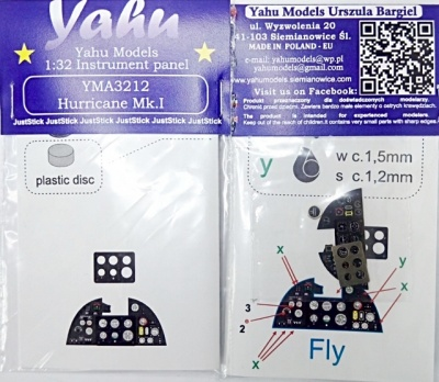 Hurricane Mk I Coloured Photoetch Instrument Panels - ''JustStick'' Ready to fit (designed for Fly kits) 1:32 Yahu Models