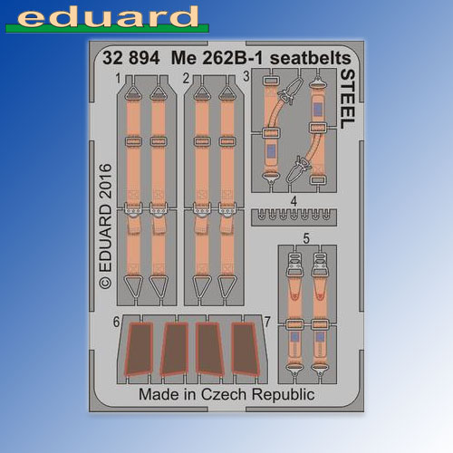 Me262B-1 STEEL Seatbelts Revell 1:32 Eduard Photoetch