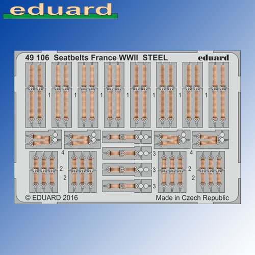 STEEL Seatbelts France WWII 1:48 Eduard Photoetch