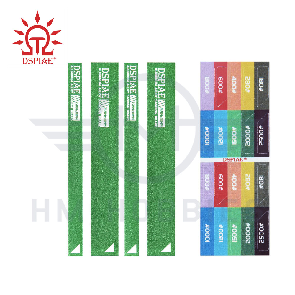Aluminium Small Sanding Board Set with Stickers Green DSPIAE