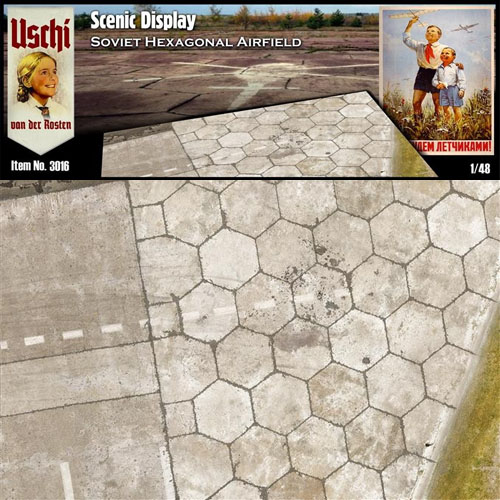 1/48 Soviet Hex Airfield Scenic Display Groundwork (3x A4 ''smart puzzle'') Uschi van der Rosten