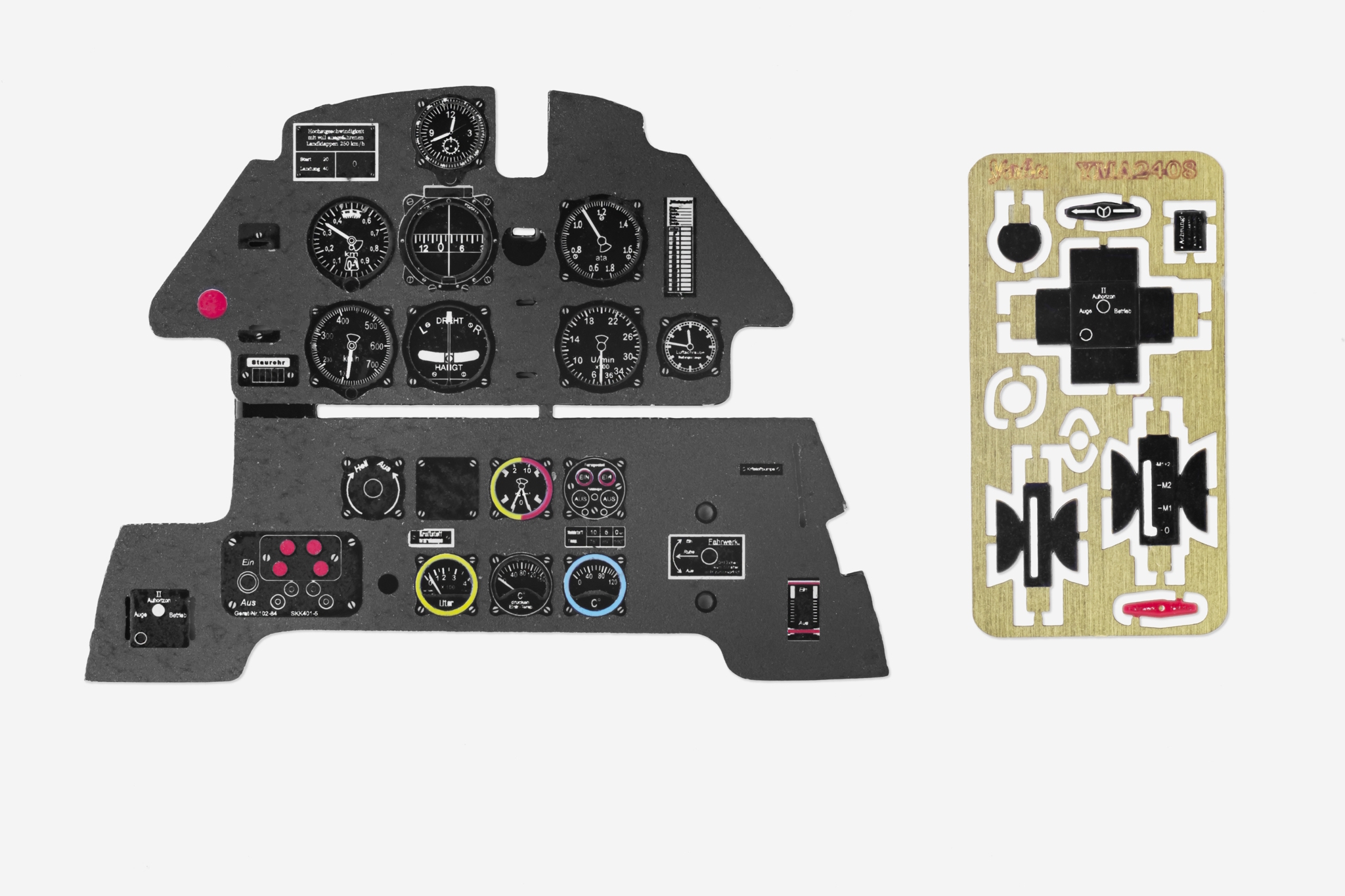 Me Bf109E Coloured Photoetch Instrument Panels - ''JustStick'' Ready to fit (designed for Airfix kits) 1:24 Yahu Models