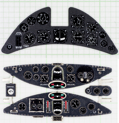 Fiat G.50 Coloured Photoetch Instrument Panels - ''JustStick'' Ready to fit (designed for SH kits) 1:32 Yahu Models