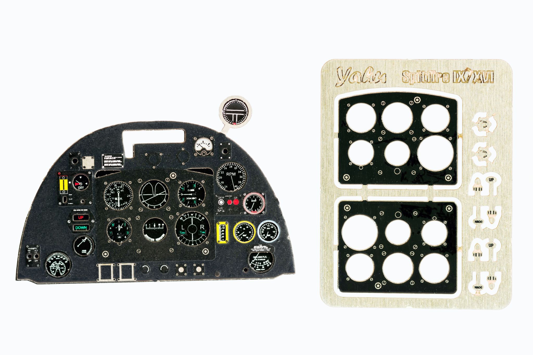 Spitfire Mk IX late / Mk XVI Coloured Photoetch Instrument Panels - ''JustStick'' Ready to fit (designed for Tamiya kits) 1:32 Yahu Models