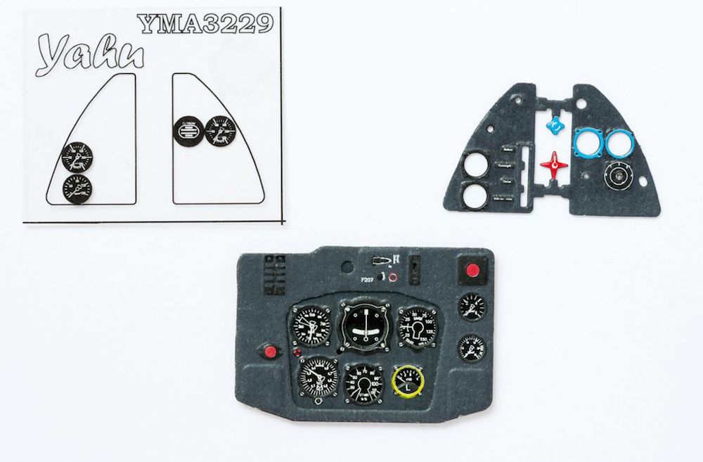 Me 163 B-1 Coloured Photoetch Instrument Panels - ''JustStick'' Ready to fit (designed for Meng/Hasegawa kits) 1:32 Yahu Models