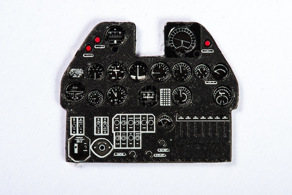 P-40E Coloured Photoetch Instrument Panels - ''JustStick'' Ready to fit (designed for Hasegawa kits) 1:48 Yahu Models