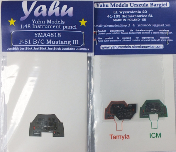 P-51B/C Coloured Photoetch Instrument Panels - ''JustStick'' Ready to fit (designed for Tamyia / ICM kits) 1:48 Yahu Models