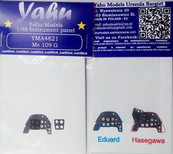 Me Bf109G-6 Coloured Photoetch Instrument Panels - ''JustStick'' Ready to fit (designed for Eduard kits) 1:48 Yahu Models