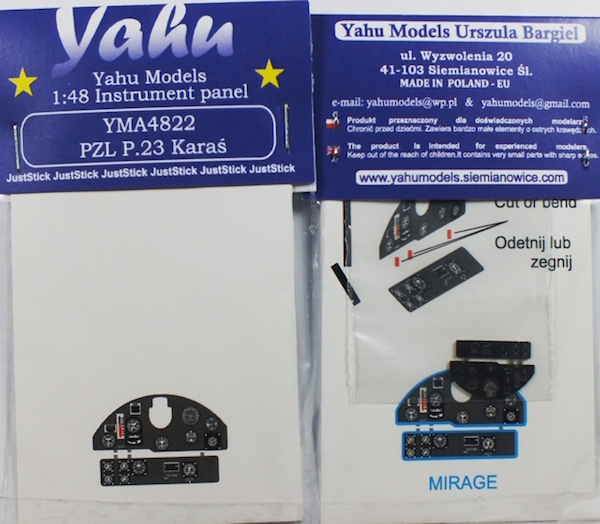 PZL P.23 Karas Coloured Photoetch Instrument Panels - ''JustStick'' Ready to fit (designed for Mirage kits) 1:48 Yahu Models