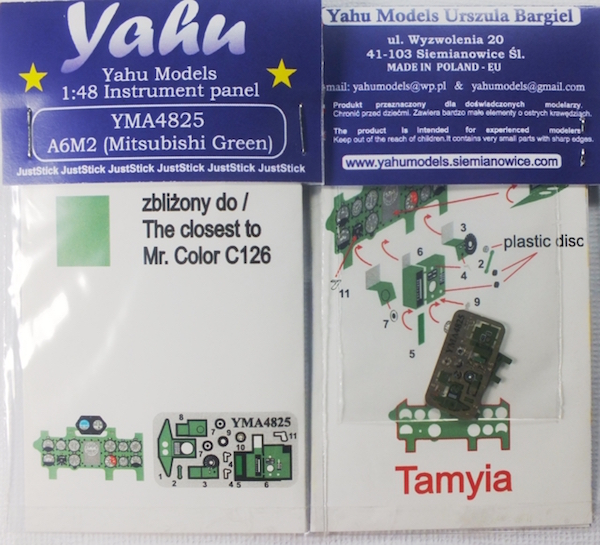 A6M2 (Mitsubishi Green) Coloured Photoetch Instrument Panels - ''JustStick'' Ready to fit (designed for Tamyia kits) 1:48 Yahu Models