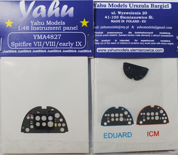 Spitfire Mk VII / VIII / IX early Coloured Photoetch Instrument Panels - ''JustStick'' Ready to fit (designed for Eduard / ICM kits) 1:48 Yahu Models