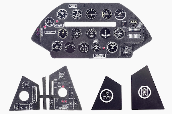 F4U-5 Day Fighter Coloured Photoetch Instrument Panels - ''JustStick'' Ready to fit (designed for Hasegawa kits) 1:48 Yahu Models