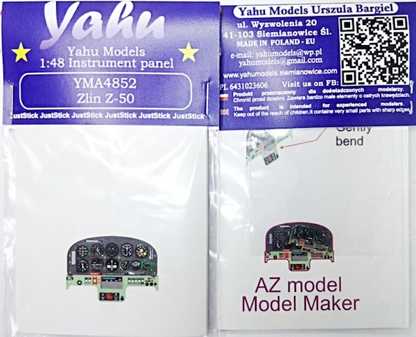 Zlin Z-50 Coloured Photoetch Instrument Panels - ''JustStick'' Ready to fit (designed for AZ Model / Model Maker kits) 1:48 Yahu Models