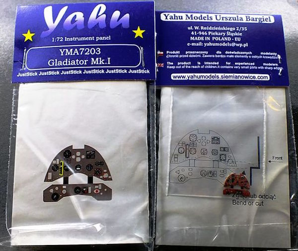 Gladiator Mk.I early Coloured Photoetch Instrument Panels - ''JustStick'' Ready to fit (designed for Airfix / Sword / Pavla kits) 1:72 Yahu Models