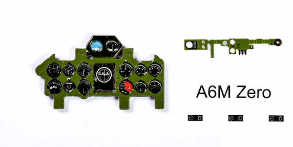 A6M5 (Mitsubishi Green) Coloured Photoetch Instrument Panels - ''JustStick'' Ready to fit (designed for Tamyia / Hasegawa / FM kits) 1:72 Yahu Models