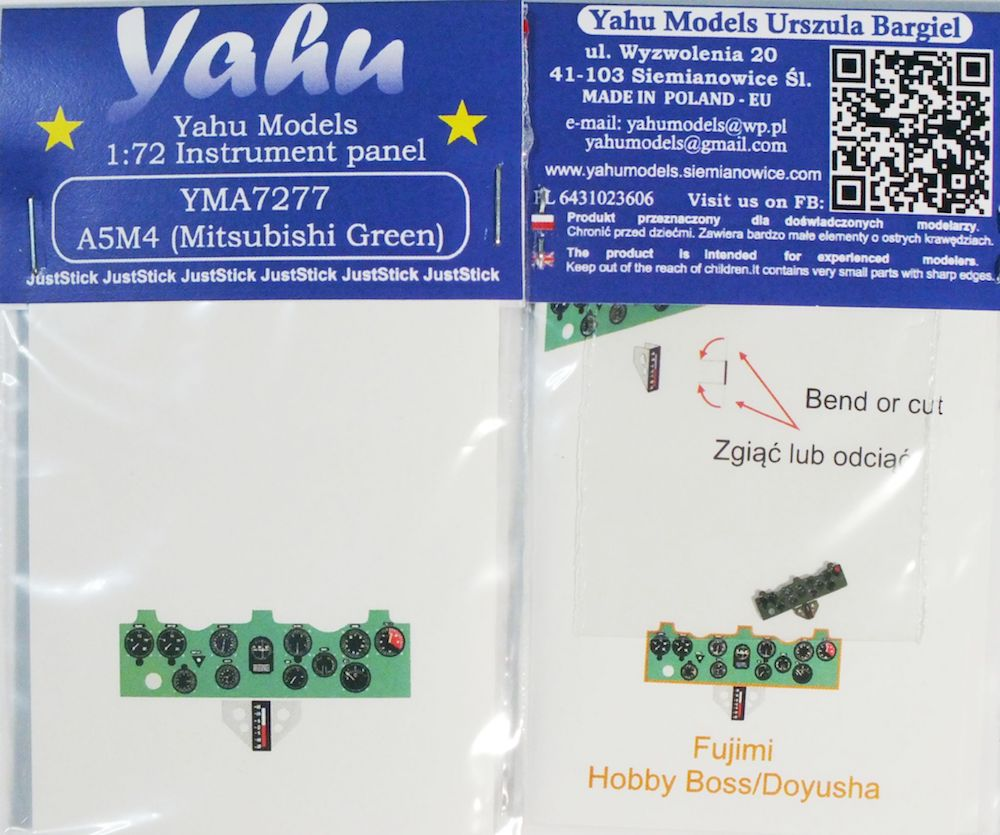 A5M4 Coloured Photoetch Instrument Panels - ''JustStick'' Ready to fit (designed for Fujimi/Hobby Boss/Doyusha kits) 1:72 Yahu Models