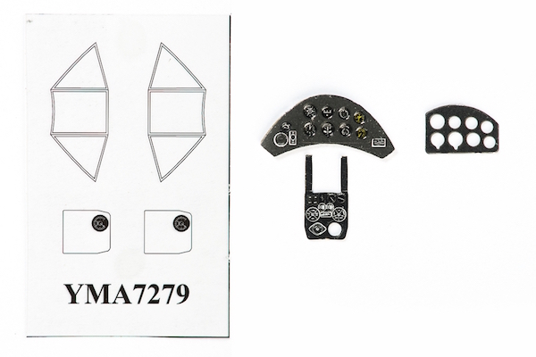 P-26 Peashooter Coloured Photoetch Instrument Panels - ''JustStick'' Ready to fit (designed for Pavla / AZ Models kits) 1:72 Yahu Models