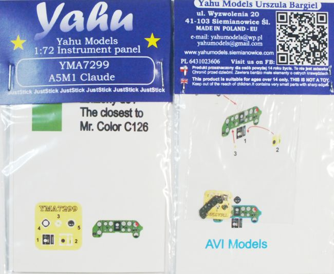 A5M1 Coloured Photoetch Instrument Panels - ''JustStick'' Ready to fit (designed for Avi Models kits) 1:72 Yahu Models