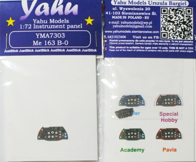Me-163 B-0 Coloured Photoetch Instrument Panels - ''JustStick'' Ready to fit (designed for Academy kits) 1:72 Yahu Models