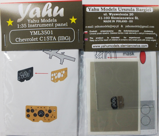 Chevrolet C15TA Coloured Photoetch Instrument Panels (designed for IBG kits) 1:35 Yahu Models