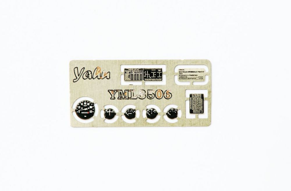 UAZ 469 (PL) Coloured Photoetch Instrument Panels (designed for Military Wheels/Trumpeter kits) 1:35 Yahu Models