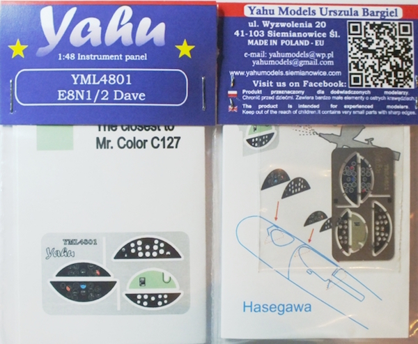 Nakajima E8N1/2 Dave Coloured Photoetch Instrument Panels (designed for Hasegawa kits) 1:48 Yahu Models