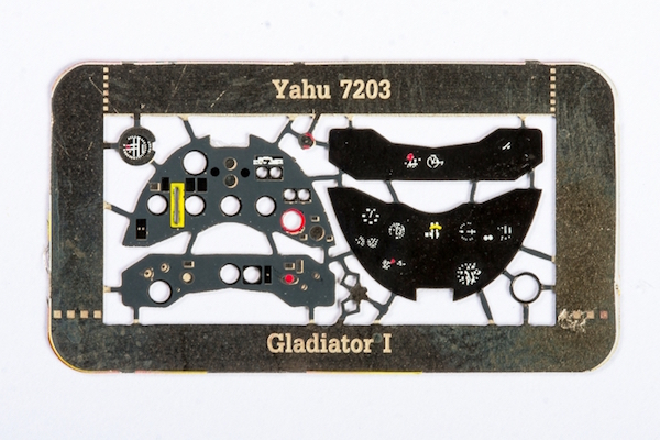 Gladiator Mk.I Coloured Photoetch Instrument Panels (designed for Airfix / Sword / Pavla kits) 1:72 Yahu Models