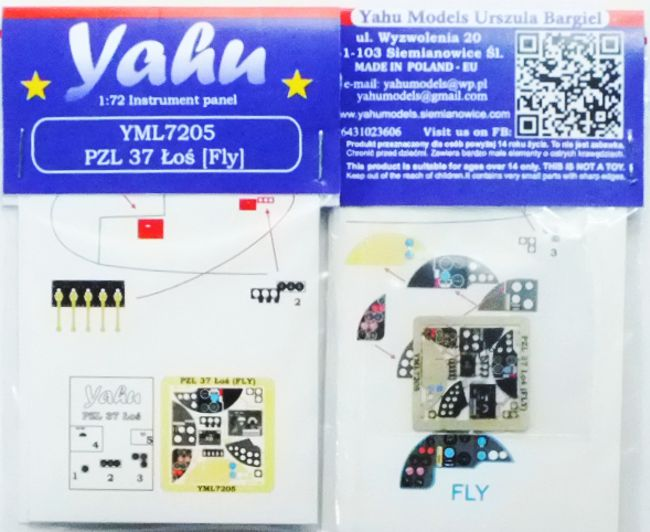 PZL 37 _o_ Coloured Photoetch Instrument Panels (designed for Fly Aircraft kits) 1:72 Yahu Models