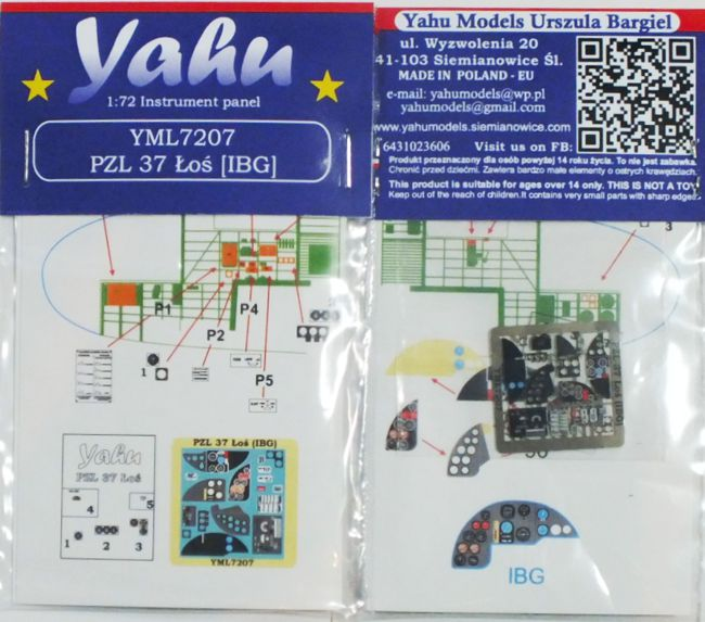 PZL 37 _o_ Coloured Photoetch Instrument Panels (designed for IBG Aircraft kits) 1:72 Yahu Models