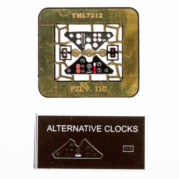 PZL P.11c Coloured Photoetch Instrument Panels (designed for Azur / Heller / PZW kits) 1:72 Yahu Models