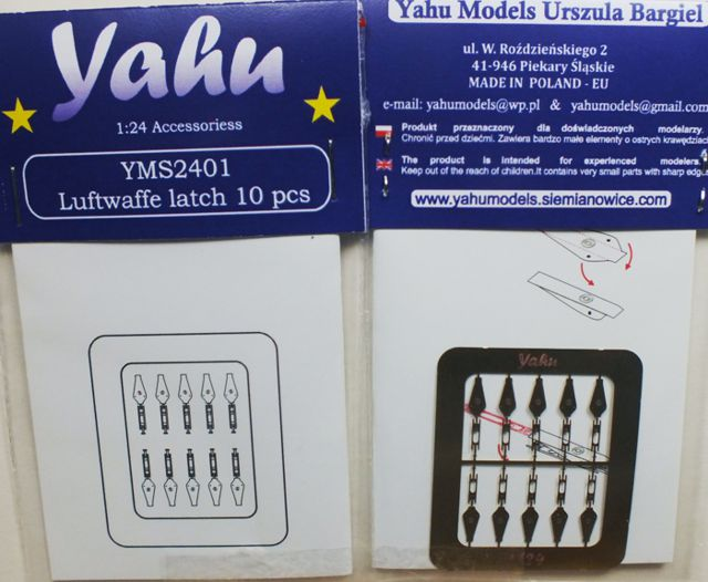 Luftwaffe Latches Photoetch Accessory Set 1:24 Yahu Models