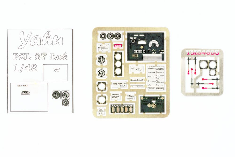 PZL 37 _o_ Photoetch Accessory Set (designed for Mirage kits) 1:48 Yahu Models
