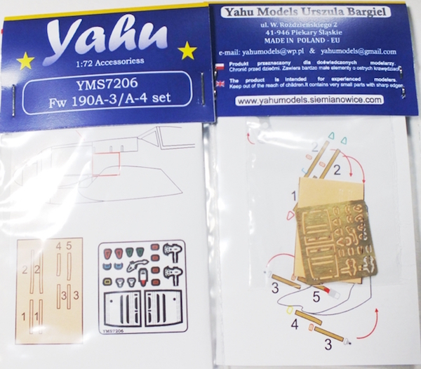 Fw-190 A-3/A-4 Photoetch Accessory Set 1:72 Yahu Models