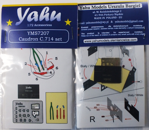 Caudron C.714 Cyclone Photoetch Accessory Set 1:72 Yahu Models