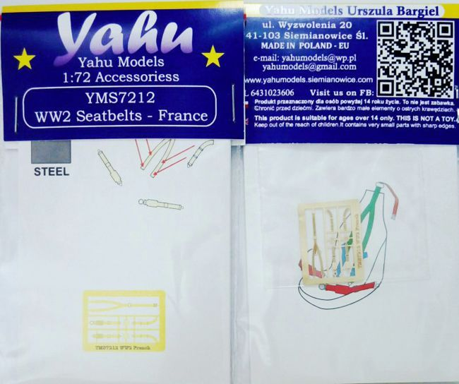 WWII France Seatbelts Photoetch Accessory Set 1:72 Yahu Models