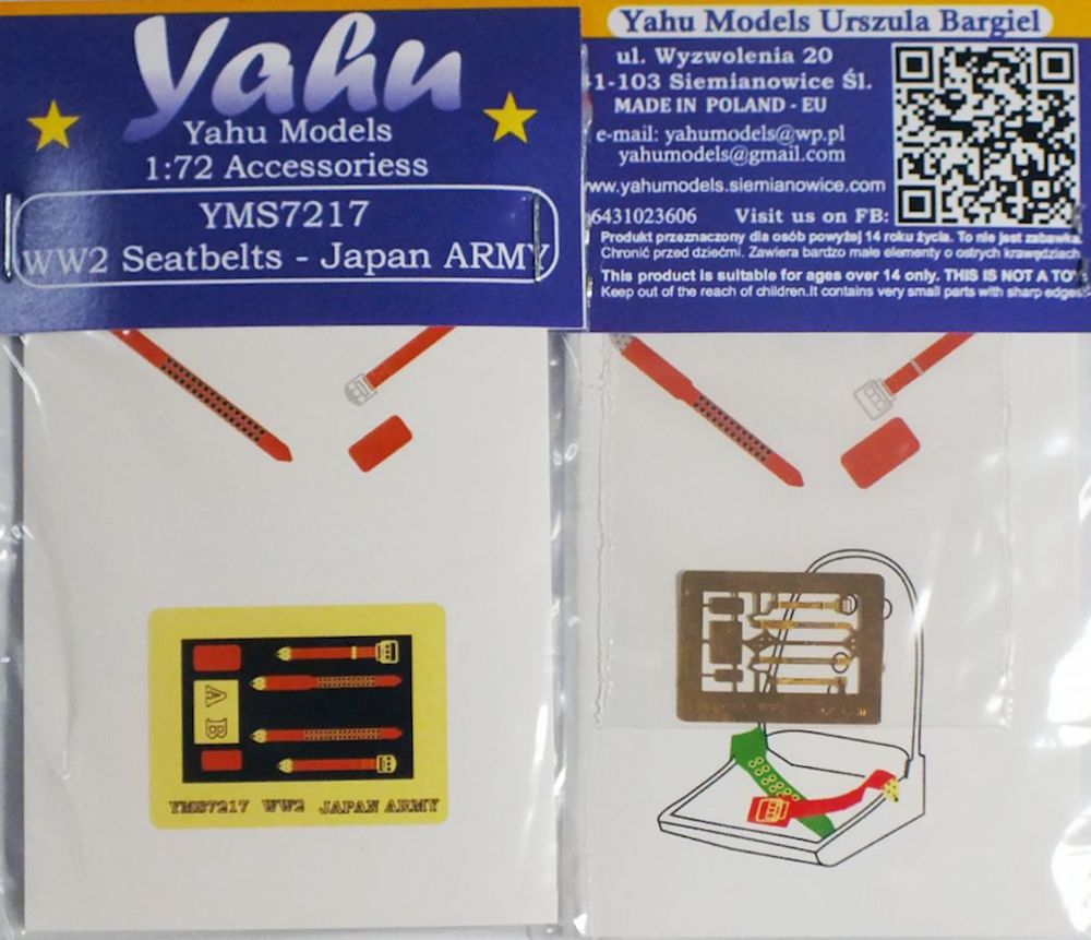 WWII Japan ARMY Seatbelts Photoetch Accessory Set 1:72 Yahu Models